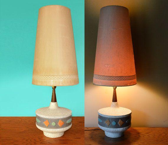 Mid Century Textured Lamp Plaster 37 Retro Tall Cone Shaped Lampshade Wood 1960s Danish Modern Table Lamp Retro Tiffany Blue Orange Rustic Lamp Shades Modern Lamp Shades Painting Lamp Shades