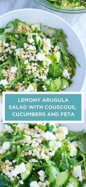 Healthy Recipe | Lemony Arugula Salad with Couscous, Cucumbers and Feta #healthyrecipes