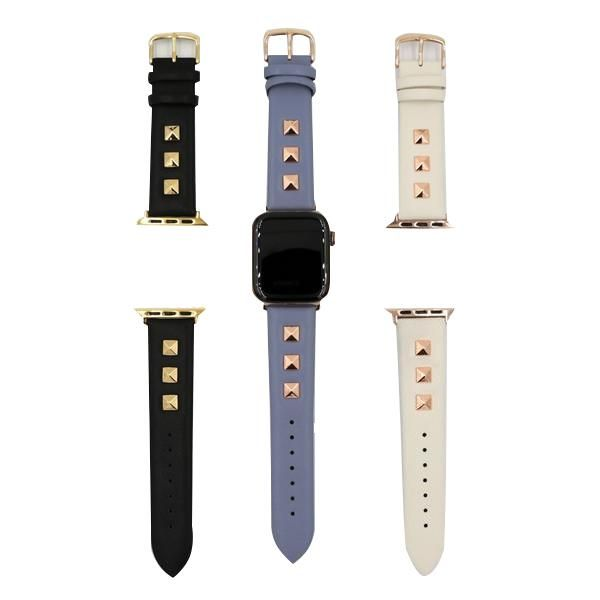 Apple watch band, Punk gold studded leather rivets design
