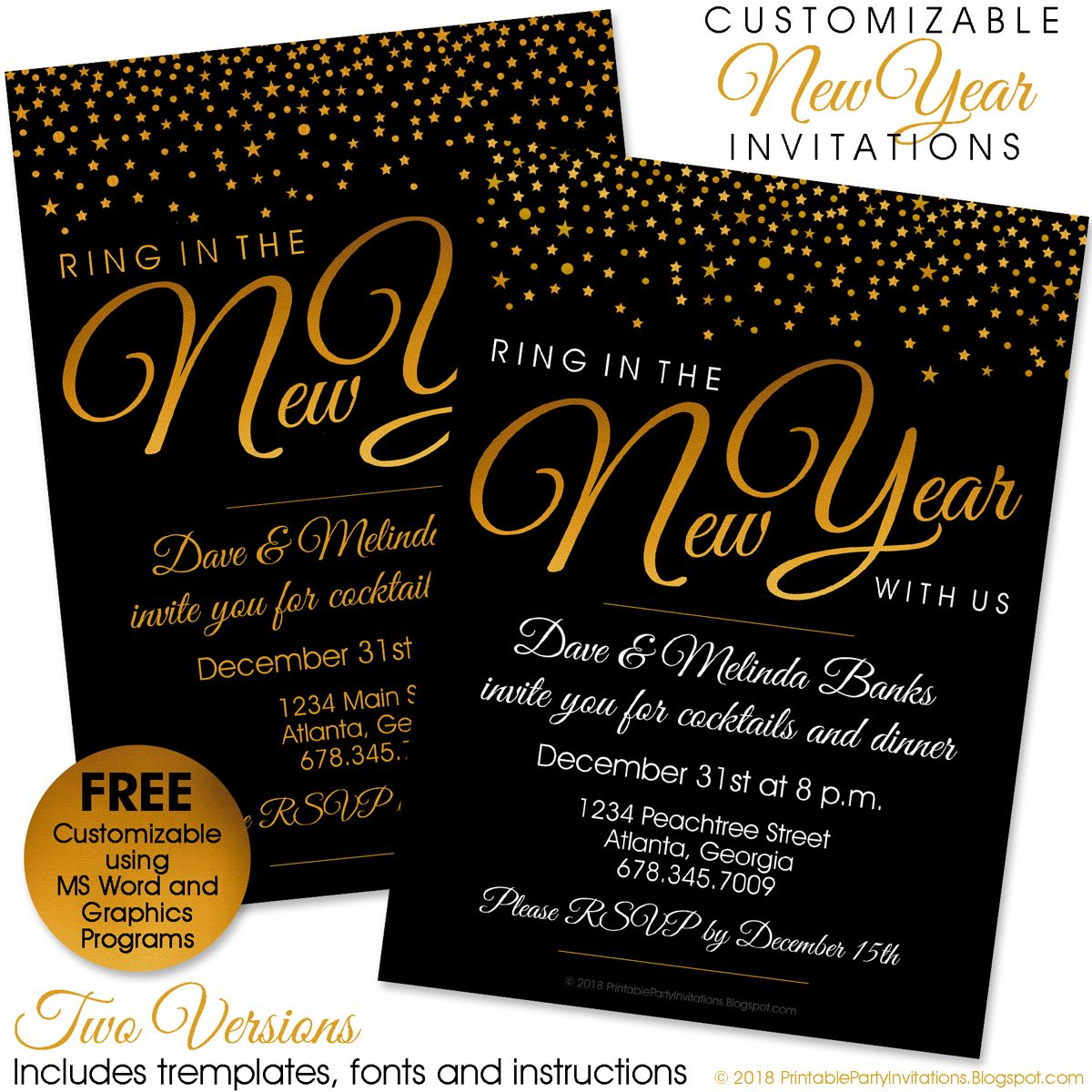 FREE printable New Year's Eve invitation kit with two free