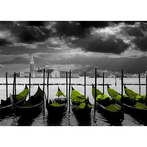 Photo of East Urban Home glass picture Around the World Venice, graphic print in lime green | Wayfair.de