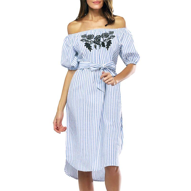 Usstore Dress for Women Off Shoulder Tassel Summer Party Beach Loose Dresses