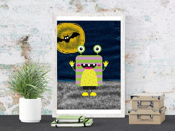 Little Monster Print, First Holiday Poster Printable Download, Wall