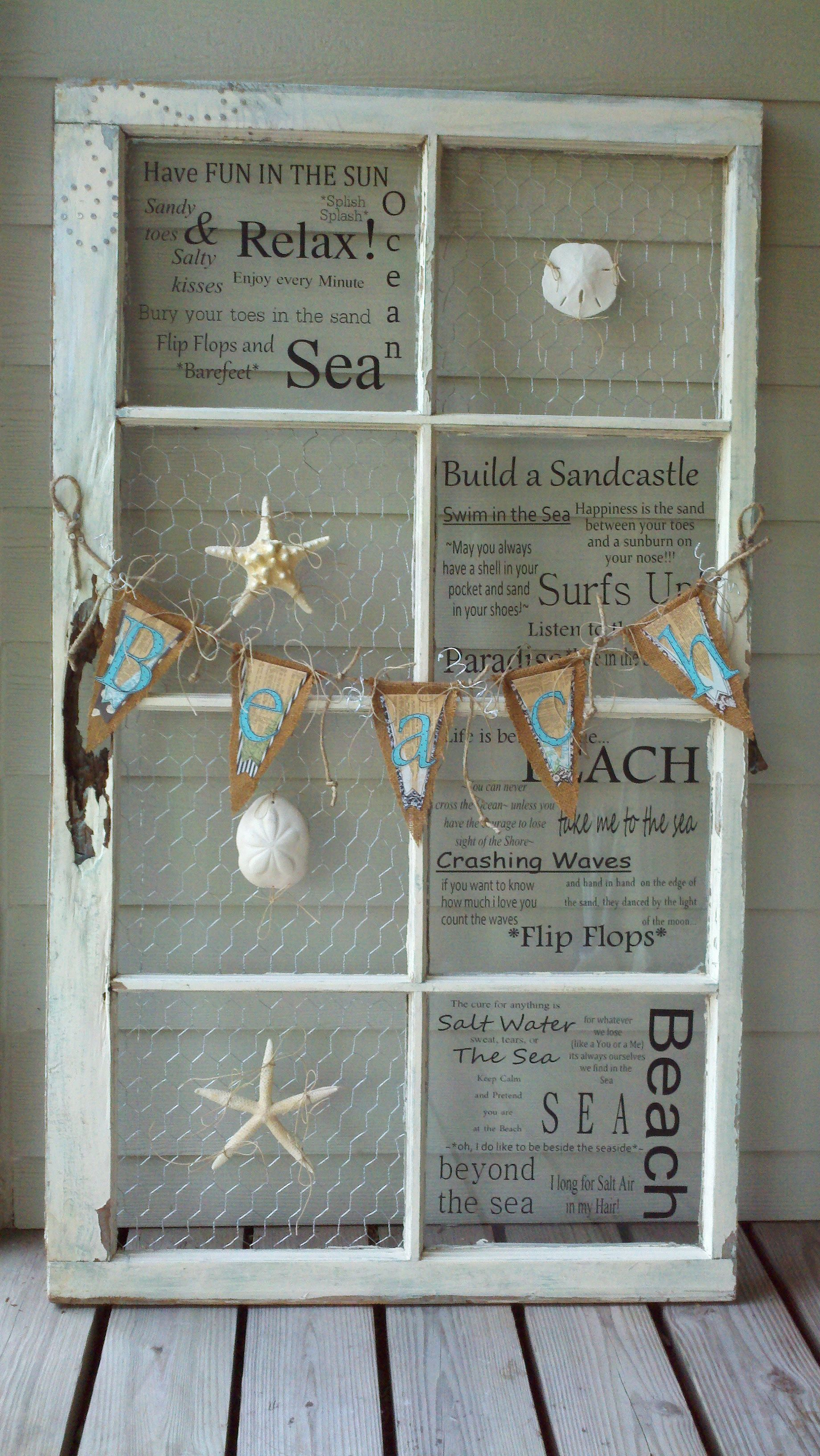 Coastal Wall Decor Ideas With Old Window Frames Beach