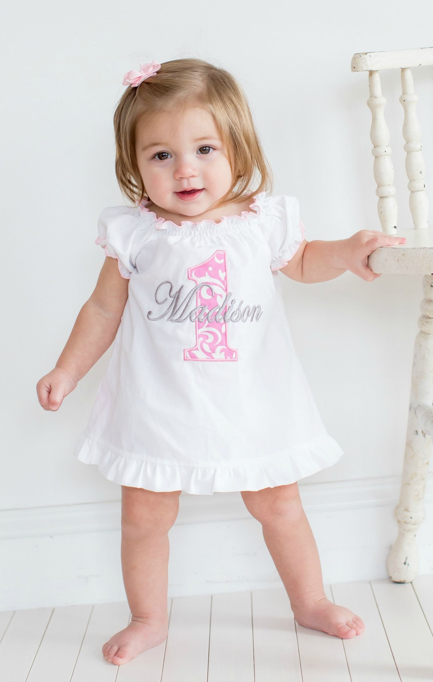 Baby Girl First Birthday Dress Pink Damask 1 Sassy Locks