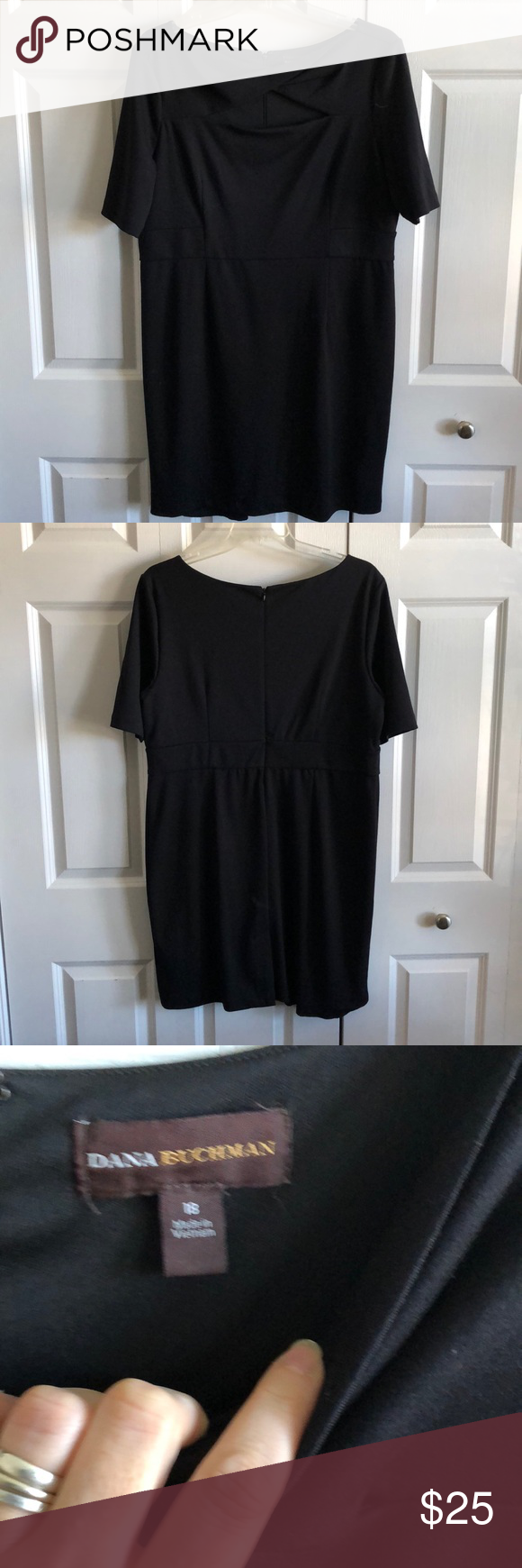 Dana Buchman Size 18 Black Dress Black Houndstooth Dress Silk Dress Vintage Black Dress [ 1740 x 580 Pixel ]