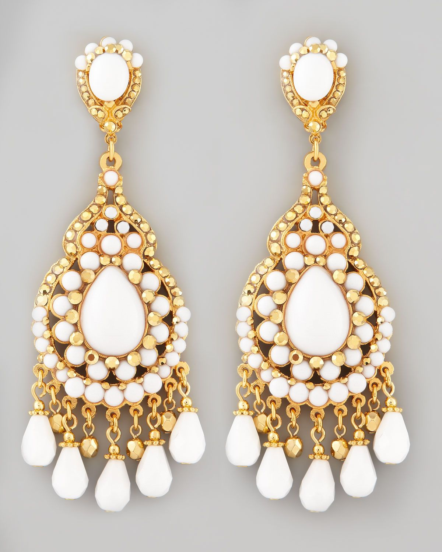 Httpharrislovejose maria barrera beaded chandelier clip beaded chandelier clip earrings white by jose maria barrera at neiman marcus aloadofball Gallery