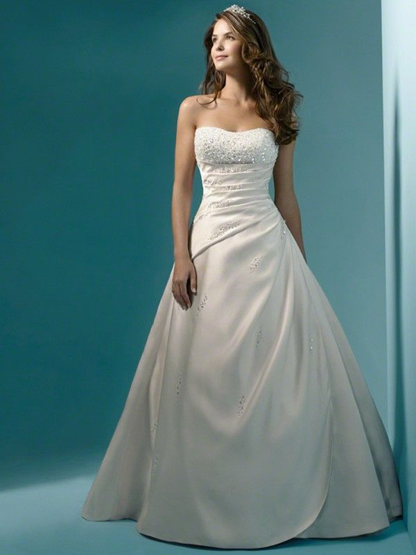 Ball Gown Wedding Dresses : A-line/Princess Strapless Sleeveless ...
