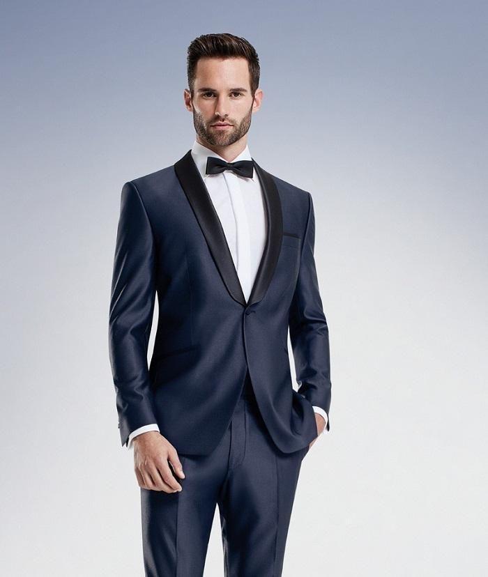 Classic Style One Button Navy Blue Groom Tuxedos Groomsmen Men\'s ...