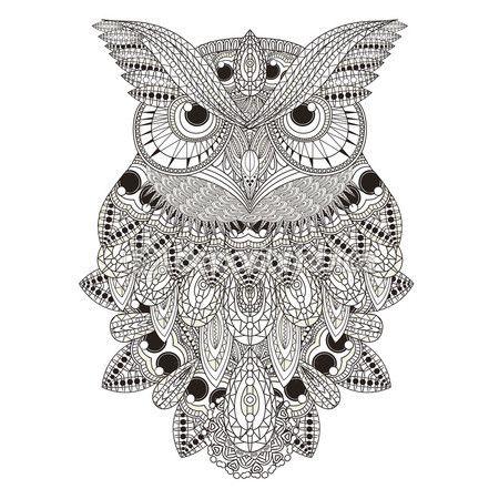 Buho de suntuoso — Vector de stock   Dibujo   Pinterest   Owl ...