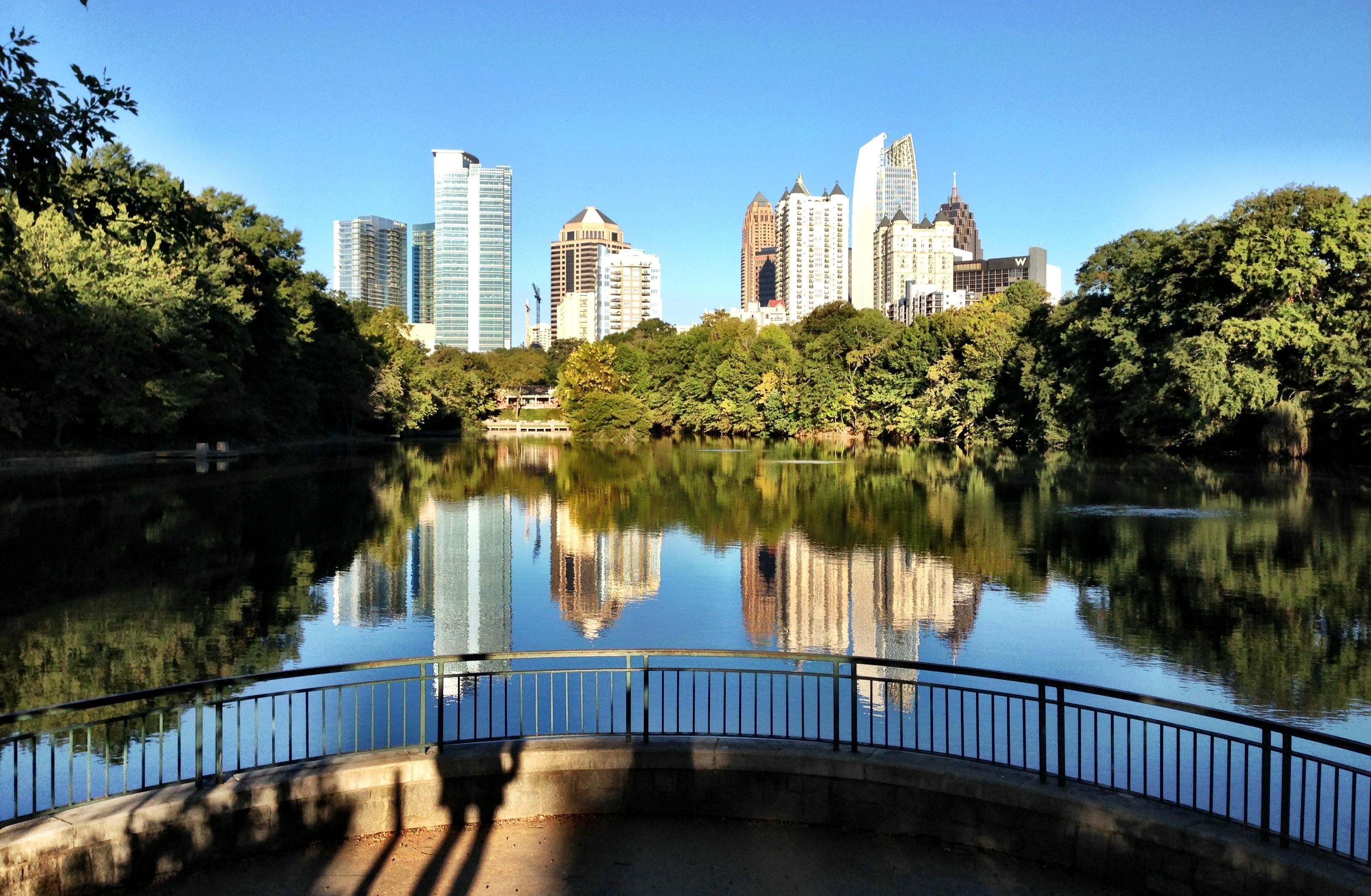 Piedmont Park has an amazing view of the Atlanta skyline