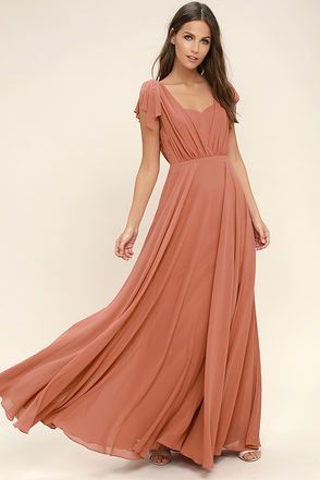 Long red orange maxi dress for wedding