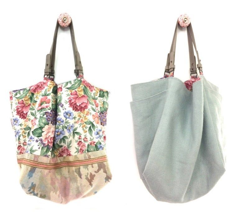 Large Bag Tote Reversible Lovely Floral Fabric Linen Leather Handles Size L Single Piece Leather Handle Large Bag Bags