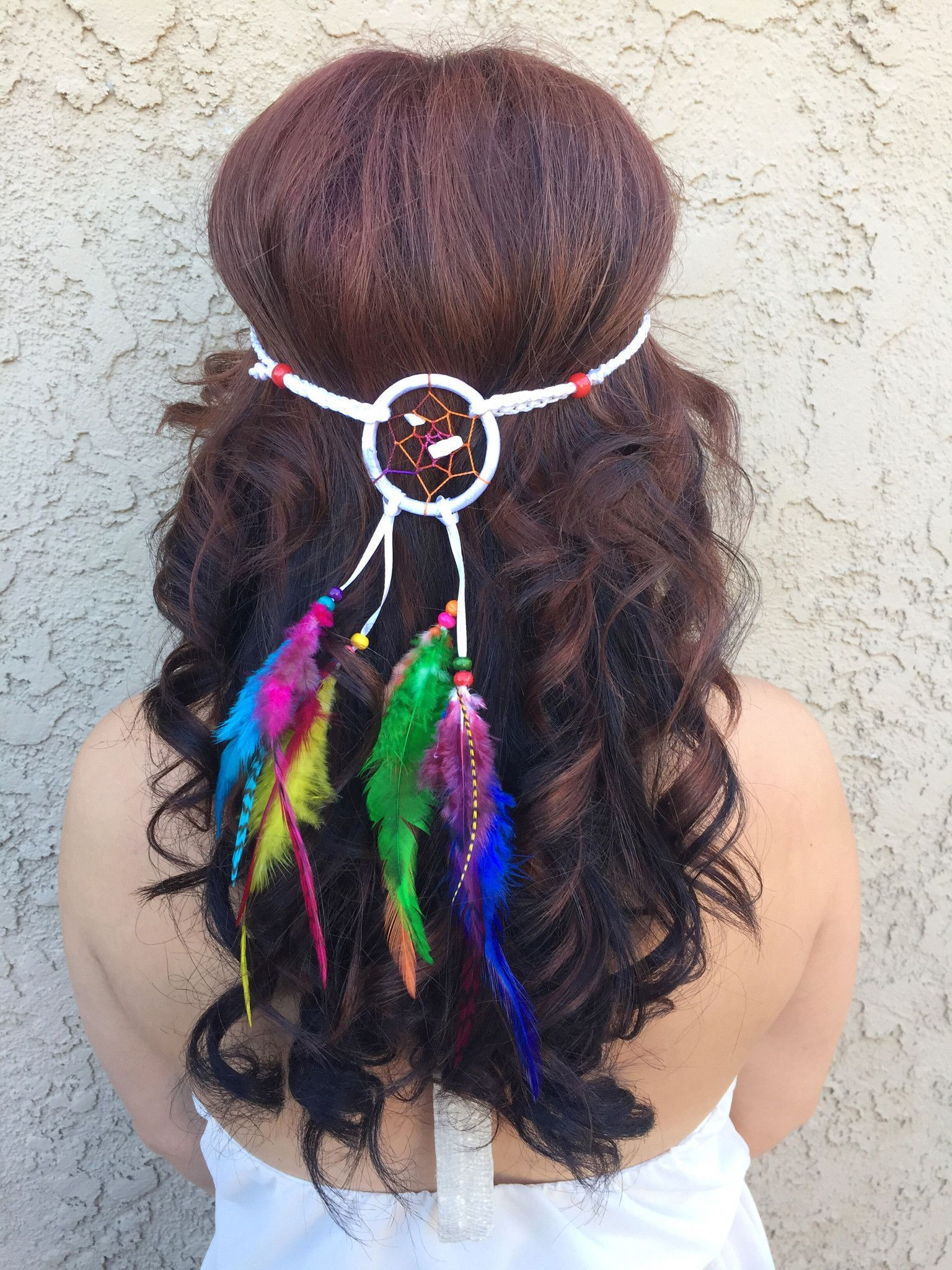 Stunning white and rainbow dreamcatcher headband featuring a mix of  colorful feathers. Dreamcatcher ring is 2