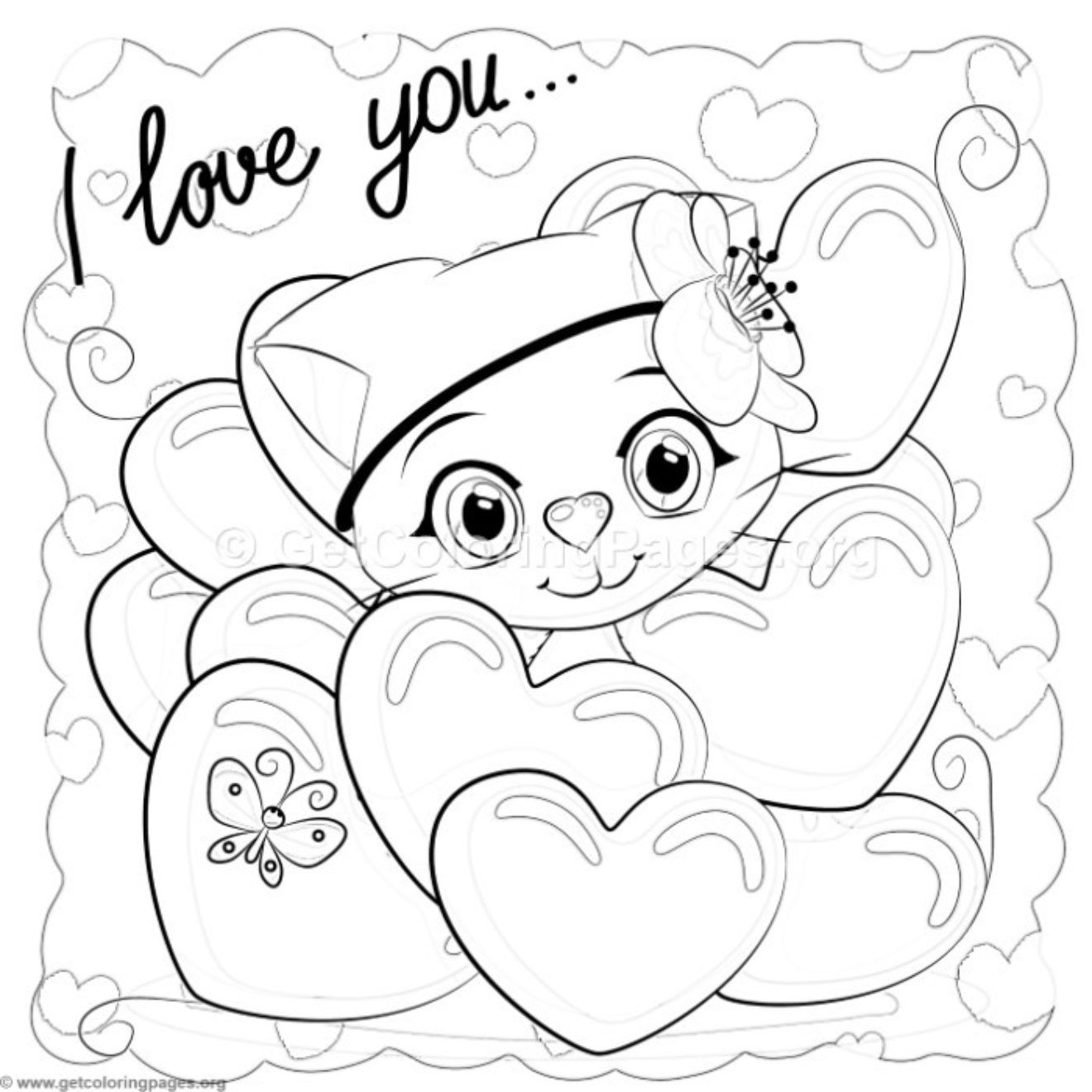 I Love You Little Cat Coloring Pages Getcoloringpages Org Cat Coloring Page Valentine Coloring Pages Coloring Pages