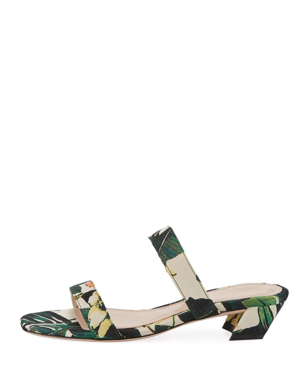 Stuart Weitzman Ava Botanic Jacquard Low-Heel Slide Sandal VXYN7hO9