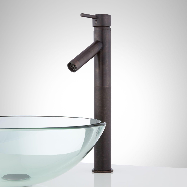Rotunda Slanted Spout Single-Hole Vessel Faucet and Pop-Up Drain ...