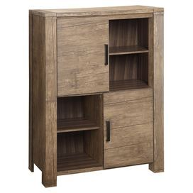 """Showcasing 2 doors opening to 4 cubbies apiece, this essential cabinet brings ample storage to your dining room or master suite.  Product: CabinetConstruction Material: Wood and wood veneerColor: BrownFeatures:  Adjustable shelvesZinc chrome hardwareTwo doors Four cubbiesDimensions: 55.1"""" H x 39"""" W x 17.7"""" DAssembly: Assembly required. Hardware is included.Cleaning and Care: Wipe with clean cloth"""