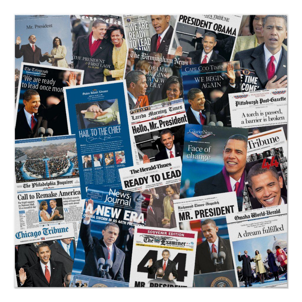 Collage of historic newspapers from January 21, 2009, the day after Barack Obama was sworn in as the 44th President of the United States of America.