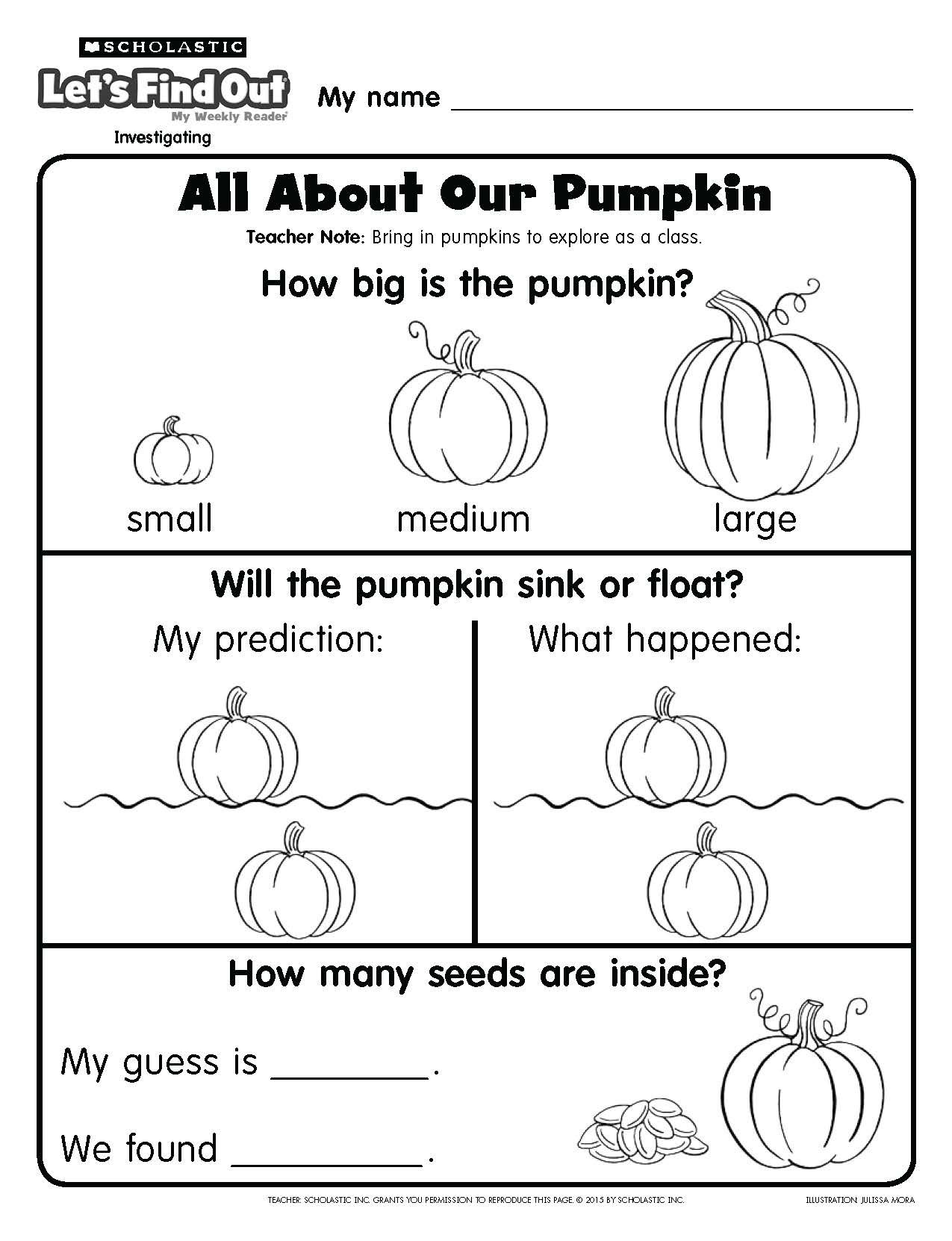 Record Pumpkin Observations With This Printable Page From Let S Find Out Kindergarten Worksheets Preschool Worksheets Preschool Math Worksheets