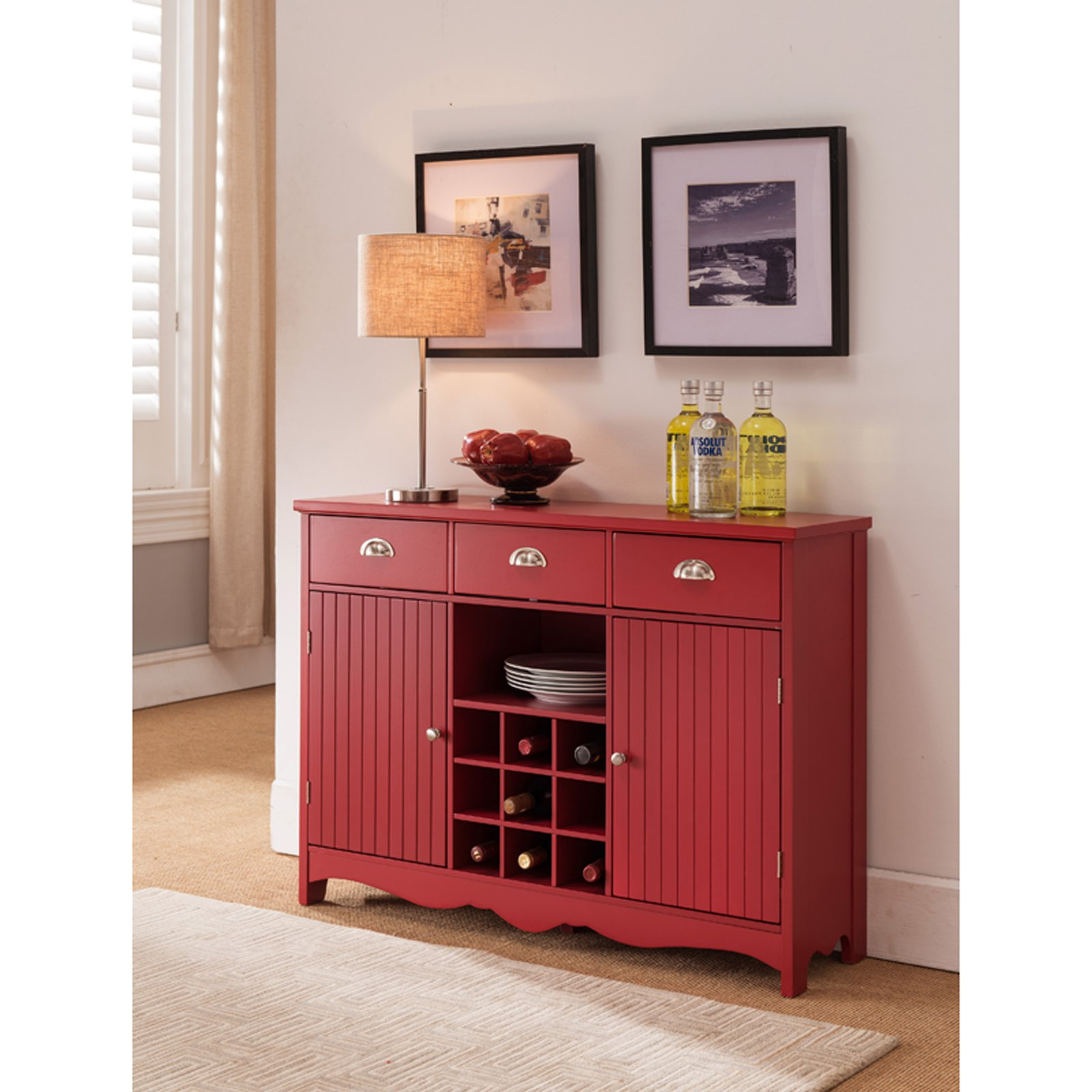 K B Furniture Red Wood 2 Door Wine Cabinet Wine Cabinets Contemporary Storage Cabinets Wooden Wine Cabinet