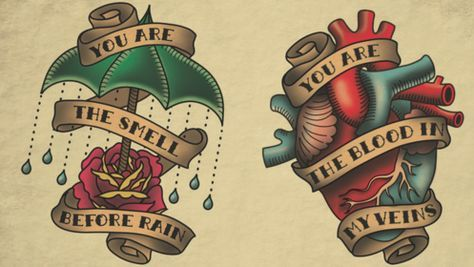 Rose with Umbrella and a Heart Tattoo Flash | KYSA  #ink #design #tattoo