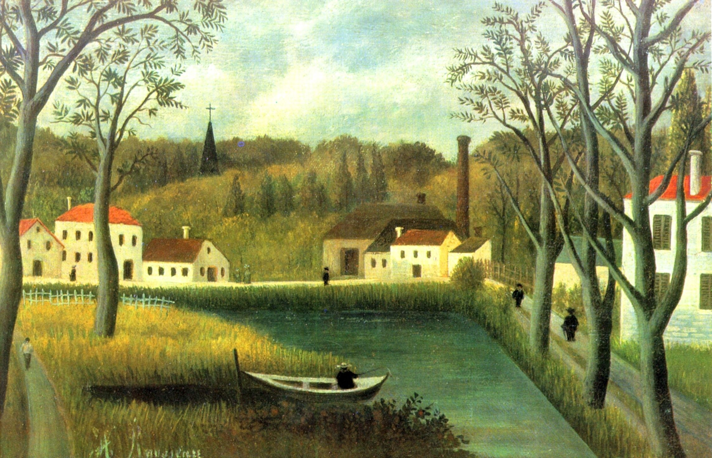 Landscape with fisherman by Henri Rousseau (1844-1910)