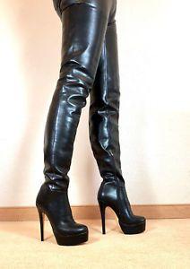 243f895ea13466 Gr-45-TOP-Exklusiv-Sexy-Damen-Schuhe-Overknee-Stiletto-Stiefel -Maenner-Boots-E9