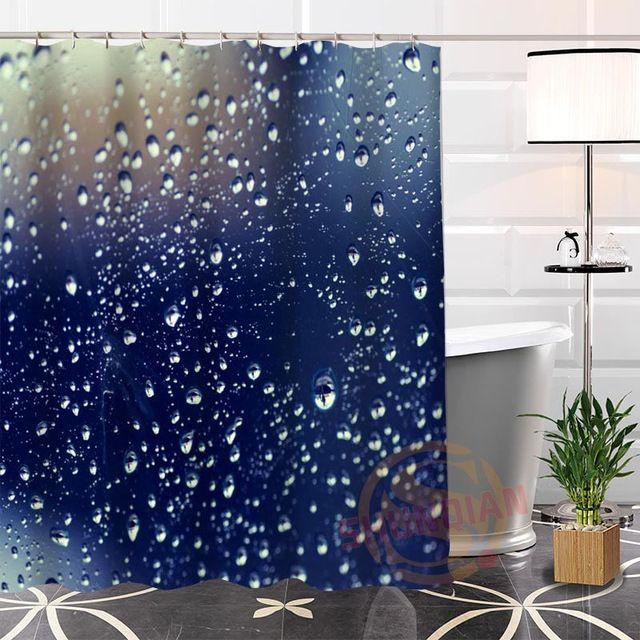 Custom Raindrop Fabric Shower Curtain Bathroom Waterproof High Quality Popular Modern 100 Polyester