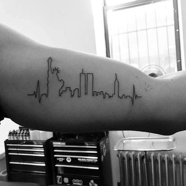 New york skyline minimalist guys bicep tattoo tattoo for Meaning of minimalist design