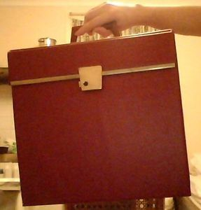 Retro Vintage Maroon 12 Lp Vinyl Record Storage Carry Case Ldn W6 W12 Pickup Vinyl Record Storage Vinyl Records Record Storage