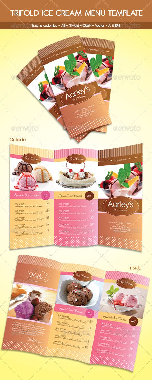 Trifold Ice Cream Menu Template  Arqart    Ice Cream