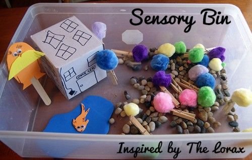 Creating a Sensory Bin Inspired by The Lorax by Dr. Seuss