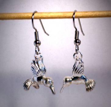 Ohrringe Kolibri 3D Edelstahl Ohrhänger Modeschmuck Damen ohne Stein Metall Legierung Neuware