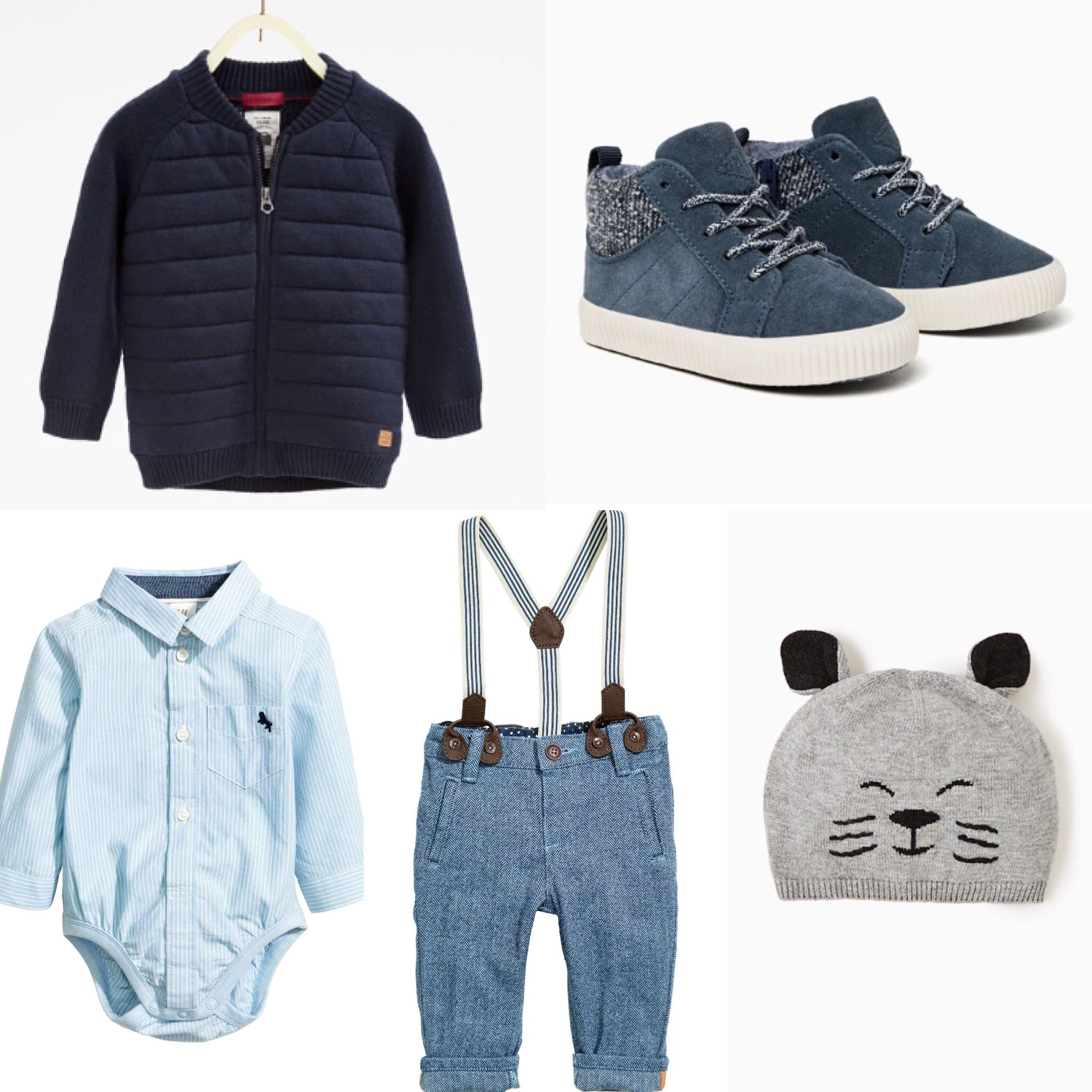 Baby boy outfit idea. H&M trousers and body. Zara jacket, sneakers and hat. 2016 fall collection.