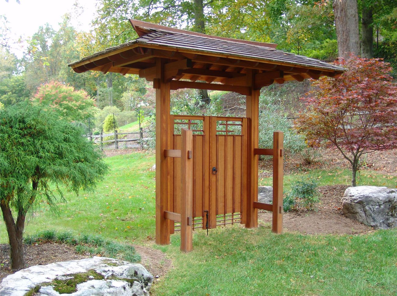 Anese Garden Backyard Landscape Design And Custom Gate By Lee S Oriental Art