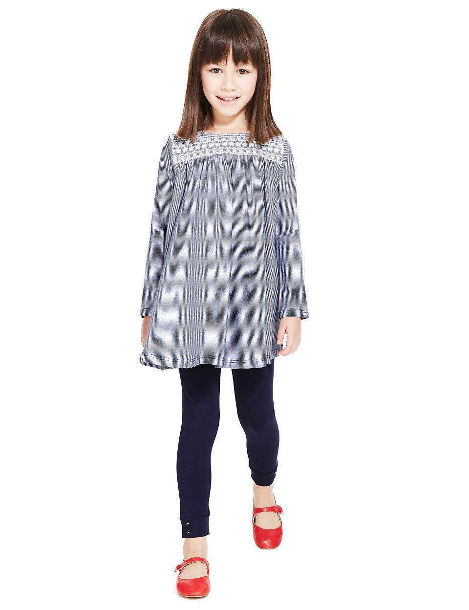 5ffefbe608e 2 Piece Cotton Rich Striped Tunic Dress & Leggings Outfit with StayNE