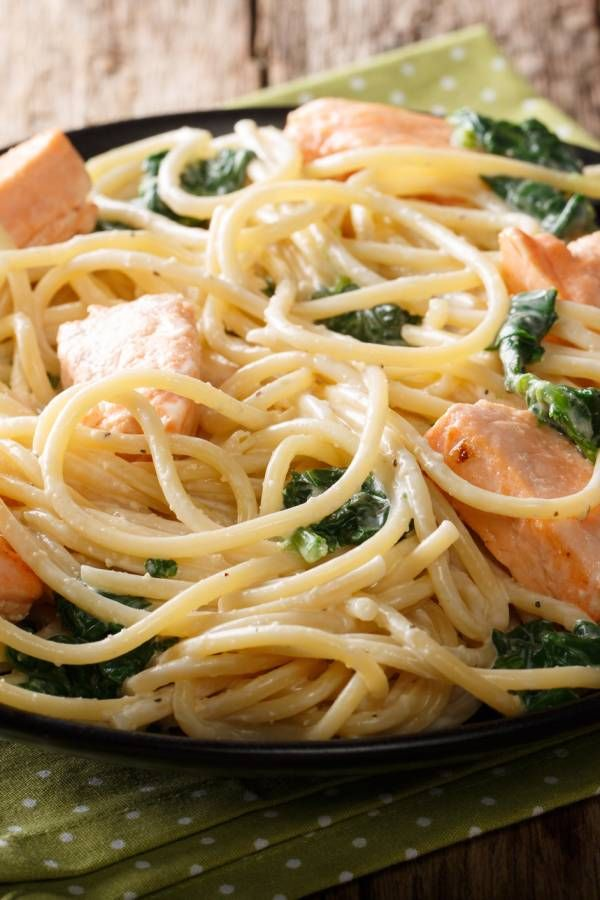 Photo of Spaghetti with salmon and spinach in cream sauce