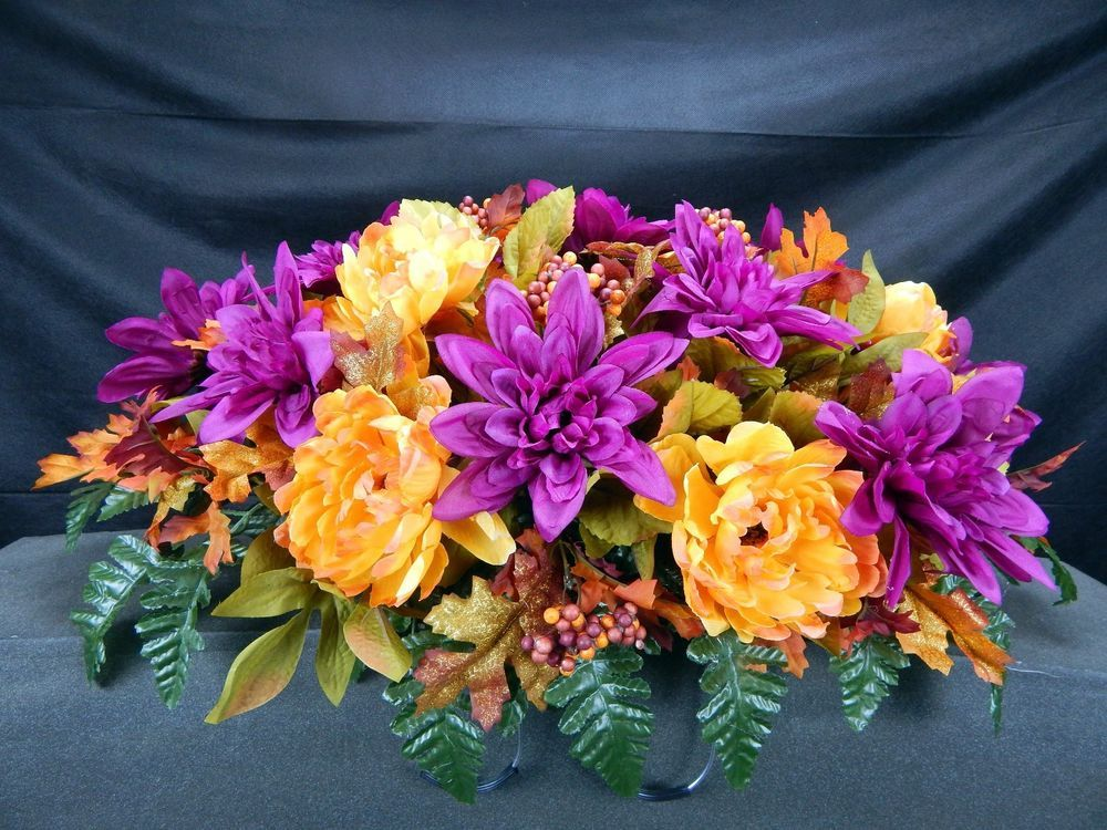 Fall deluxe cemetery silk flower headstonetombstone saddle grave fall deluxe cemetery silk flower headstonetombstone saddle grave decoration mightylinksfo Choice Image