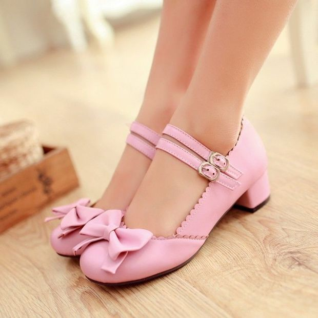 New Womens Mary Janes Buckle Strap Low Heel Pumps Lolita Bowknot Shoes Plus Size