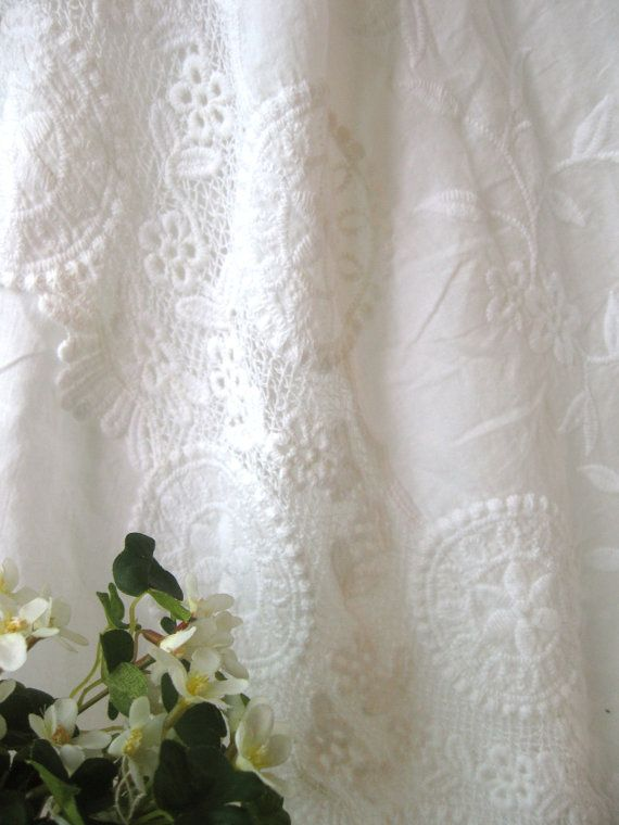 Cotton Lace Fabric  Country Off White Floral Flowers by RetroNaNa, $13.00