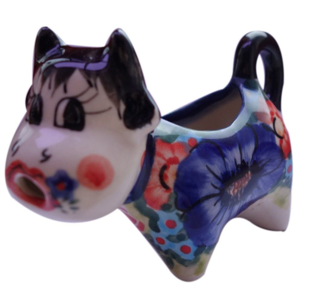 Stoneware Cow Shaped Creamer Hand Painted Boleslawiec