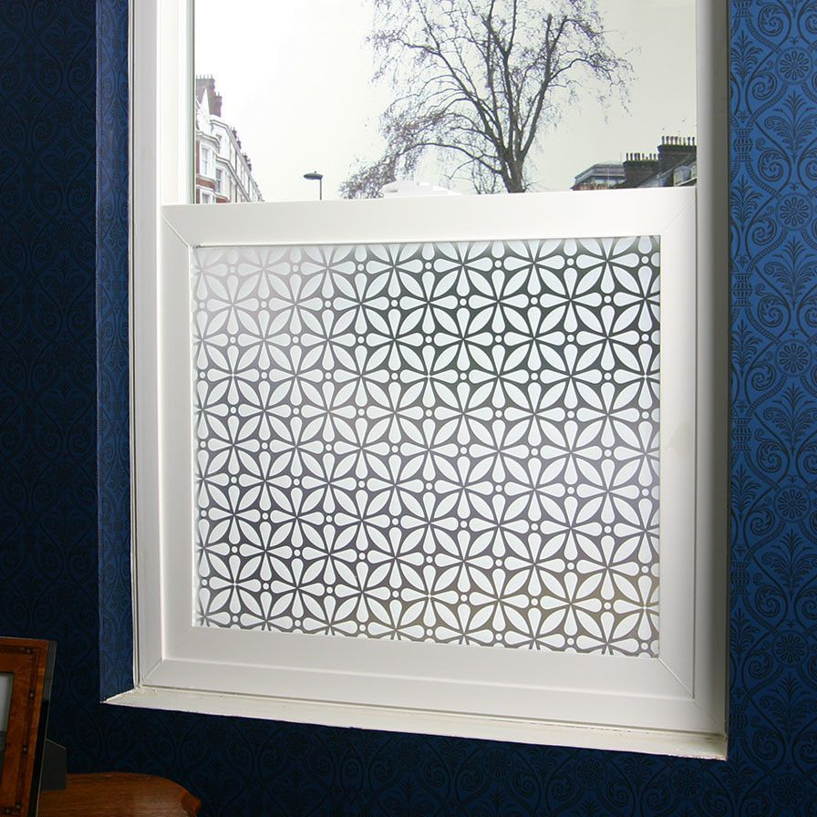 Features frosted privacy film adhesive film easy for Decorative windows for bathrooms