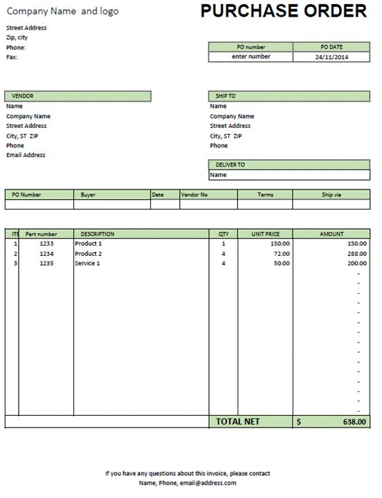 Excel Purchase Order Template  Microsoft Purchase Order Template