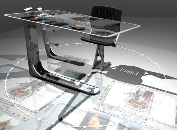 wonderful futuristic office desk   Futuristic desk, maybe hide its capabilities in a wooden ...