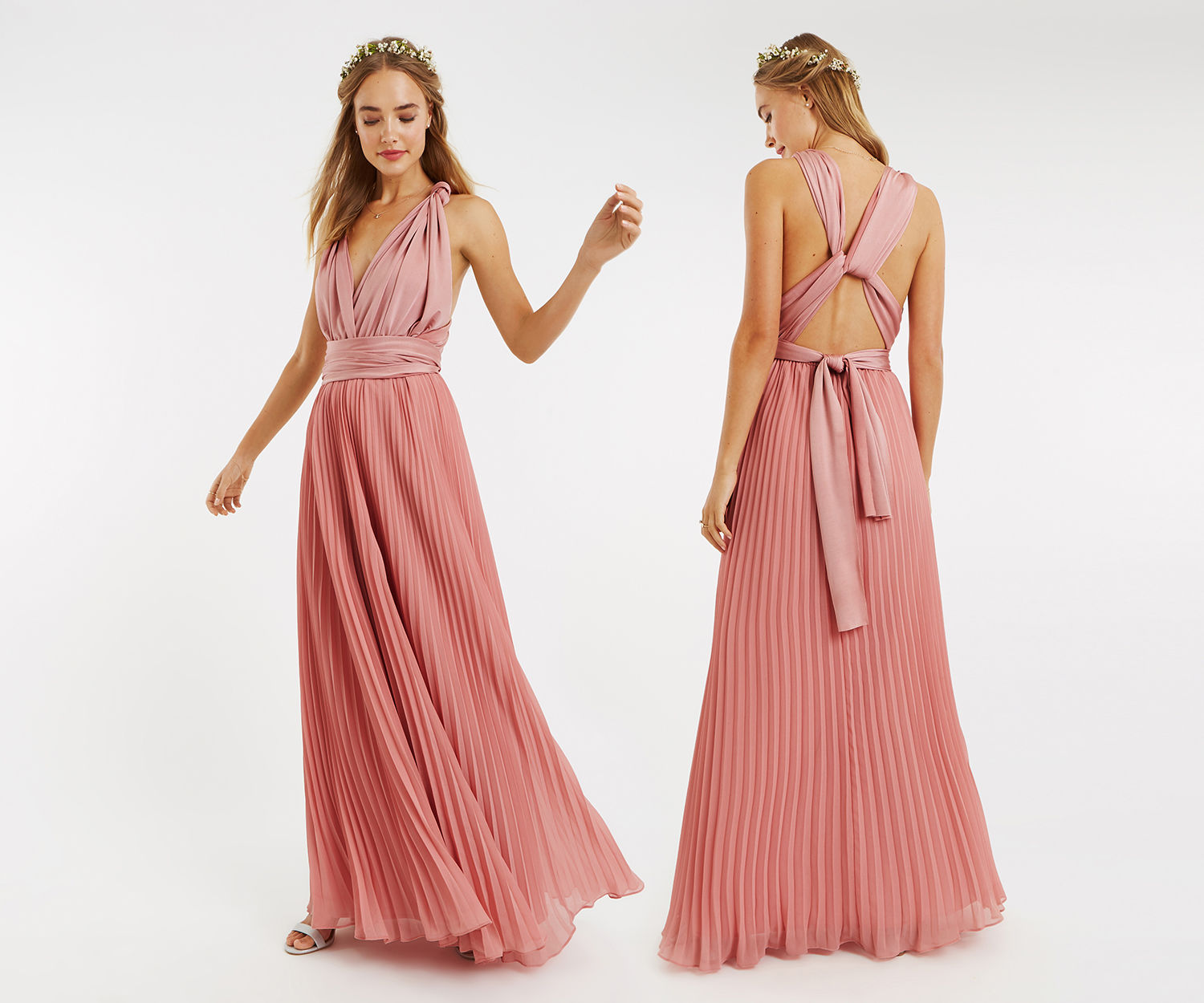Oasis Wear It Your Way Maxi Dress Pale Pink Maxi Dress Pleated Maxi Dress Floral Maxi Dress