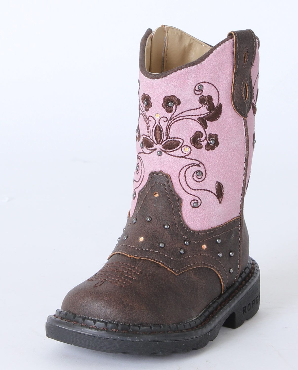 Roper® Girls' Brown & Pink Dazzle Lights Boots - Toddler :: Infant ...