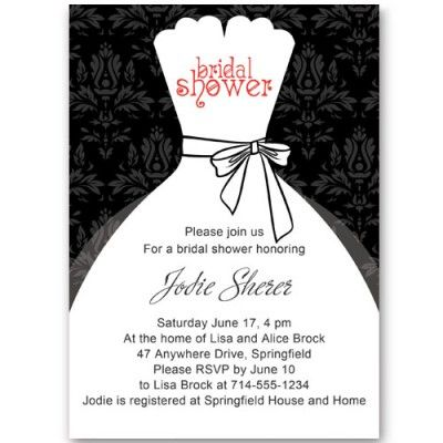 Black And White Inexpensive Wedding Dress Bridal Shower Invitations Ewbs053 As Low As 0 94 Online Bridal Shower Invitations Bridal Shower Invitations Templates Bridal Shower Invitation Wording