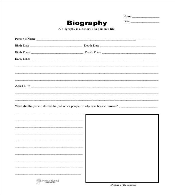 Biography Sheet Template  Homeschool    Homeschool And