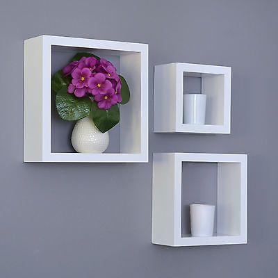 3 er cube regal set design b cher cd wandregal h ngeregal matt wei d28 in m bel wohnen m bel. Black Bedroom Furniture Sets. Home Design Ideas
